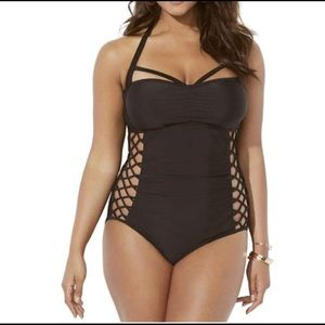 Ashley Graham Swimsuit for All Black One Piece
